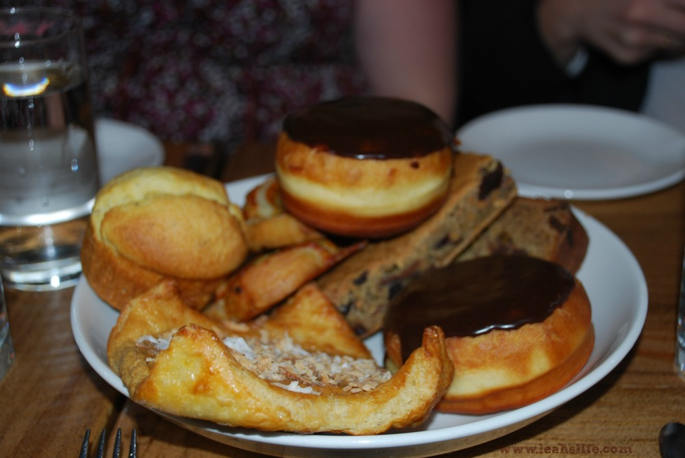 A plate full of pastries.