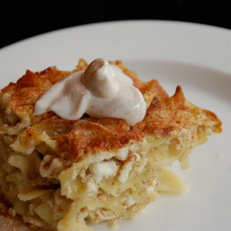Cinnamon sugar and sour cream topping for the Noodle Kugel. Serve with caramelized apples for a show stopping brunch or dessert.