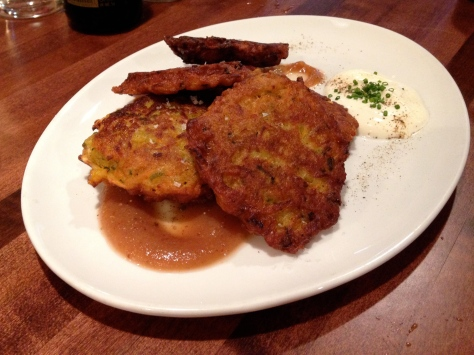 Root Vegetable Latkes with homemade sour cream and Rey's apple sauce.  I am a purist when it comes to latkes but I'm making an exception for these.  I can eat these from now to Chanukah!