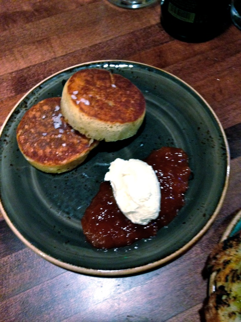 I love crumpets.  I have made crumpets before.  I grew up eating crumpets.  And yet, I have never quite had crumpets like this before.  These are the perfect texture and size. Top with cream and jam and your weekend is made.