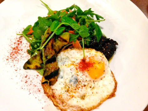 Pig blood scrapple and eggs at Alden & Harlow.