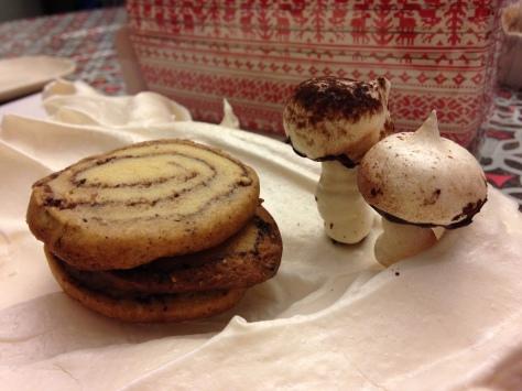 Spiced Yule Log cookies with little meringue mushrooms.
