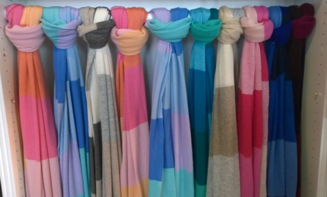 Beautiful colour block scarves from Sara Campbell over at the Linden Square shops in Wellesley.  (Photo Courtesy of Kim Hubbard Tollander of KimWorld)