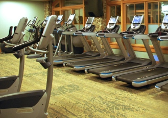 The full fitness studio has a workout room as well as a spin studio, two group exercise studios, a two lane pool, and hot tub.