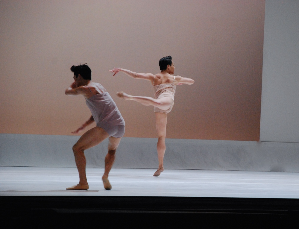 Boston Ballet Principals Jeffrey Cirio and John Lam in Chroma.
