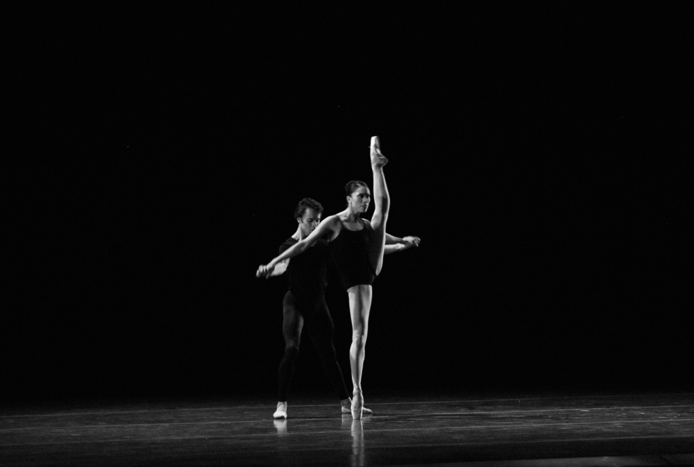 Principals Lia Cirio and Paula Arrais in Boston Ballet's Bach Cello Suites.