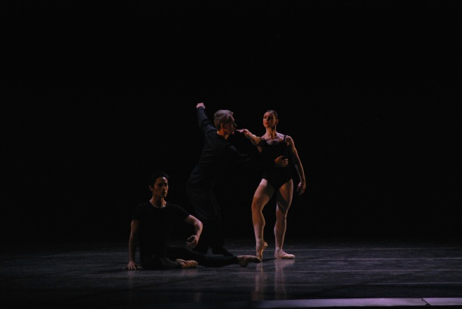 Left to right, Boston ballet principal Jeffrey Cirio, Choreographer and dancer Jorma Elo, and Boston Ballet