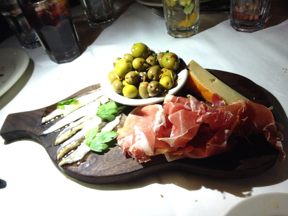 Custom charcuterie board (choose your own or get the chef's choice) at Barcelona Wine Bar, South End, Boston.
