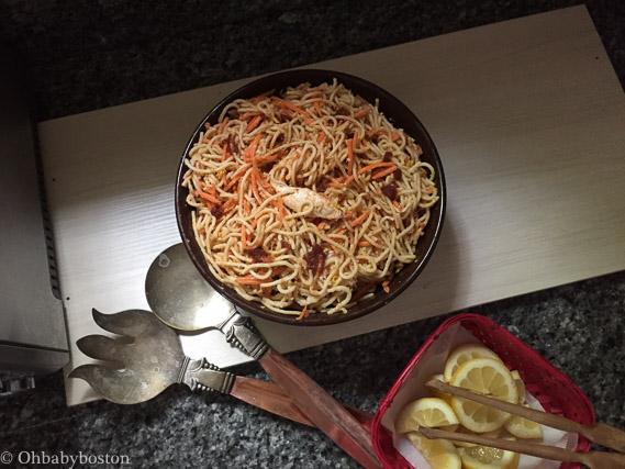 Harissa Hummus Noodle Salad with Chicken and Chutney (Recipe * Sponsored)