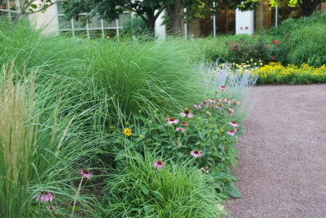 The Prudential Center's South Garden is a perfect urban oasis with flowers, a sandy path, and a beautiful lawn to lay out blankets for the movies.