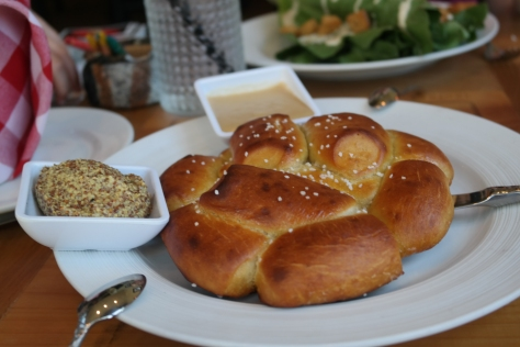 The pretzel and beer cheese was a huge hit.  I have to admit we've been craving it ever since.  Bear in Boots, Falmouth, MA.