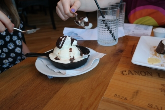 The girls digging in to their dessert. I believe we've had a request to go back for more already.