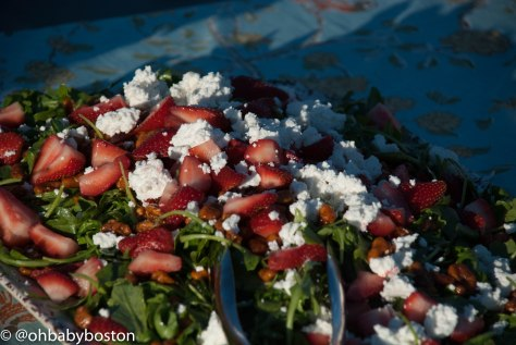 A gorgeous salad with strawberries and goat cheese. There was also steak for those who crave a little red meat.