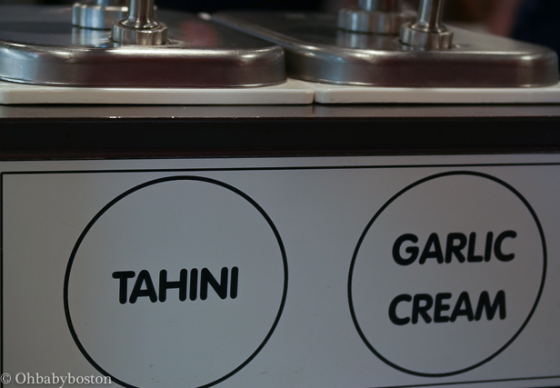 Tahini and Garlic Cream for your sandwich or salad.  I recommend getting a little dish of all the sauces and giving them a try.