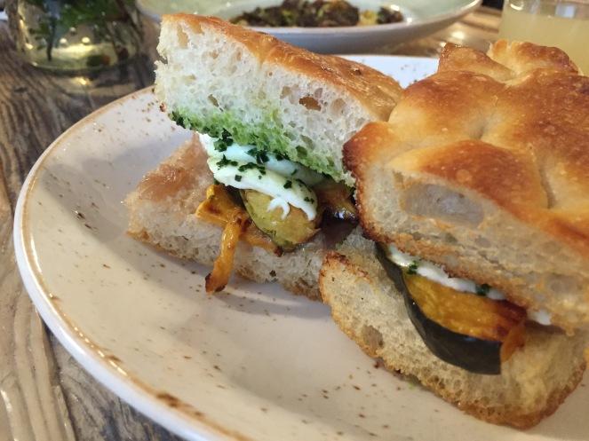 I had a scrumptious roasted squash sandwich with mozzarella, caramelized onions and kale pesto.