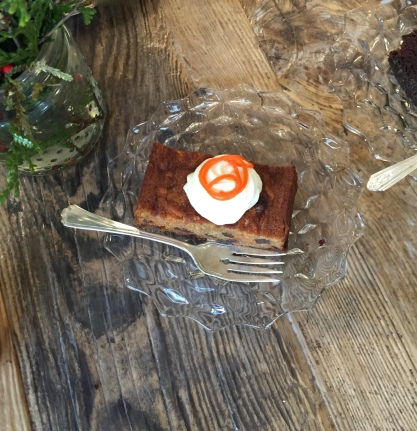 One of the best carrot cakes I have had and I love carrot cake. No nuts (that worked for me but I also like nuts) and it was not too sweet with a perfect dollop of cream cheese frosting.