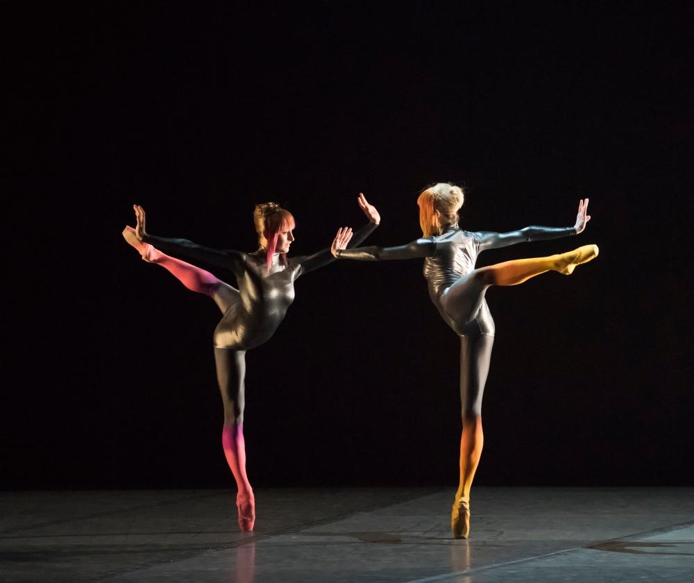 Ashley Ellis and Dusty Button of Boston Ballet in Karole Armitage's Bitches Brew; photo by Gene Schiavone, courtesy Boston Ballet