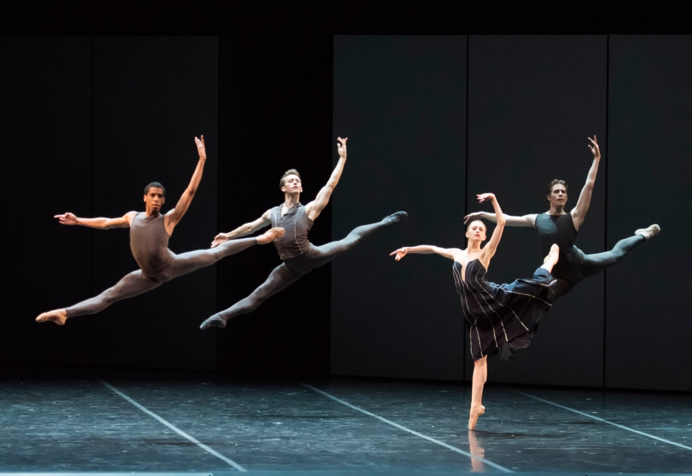 Lawrence Rines, Patrick Yocum, Dusty Button, and Bo Busby of Boston Ballet in José Martinez's Resonance; photo by Gene Schiavone, courtesy Boston Ballet
