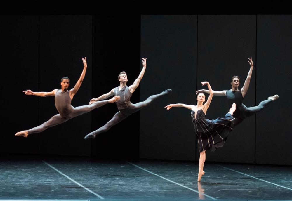 Lawrence Rines, Patrick Yocum, Dusty Button, and Bo Busby of Boston Ballet in José Martinez's Resonance; photo by Gene Schiavone, courtesy Boston Ballet