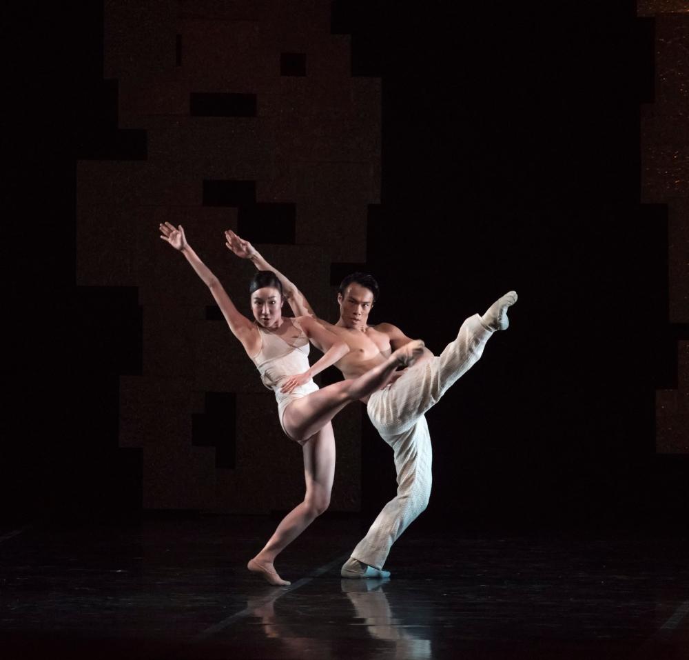 Ji-Young Chae and John Lam of Boston Ballet in Yury Yanowsky's Smoke and Mirrors; photo by Gene Schiavone, courtesy Boston Ballet