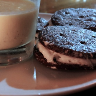 Milk and Cookies like only a fairy godmother could make you. This is chocolate shortbread with butter cream and crema spressa. I have no idea what crema spressa is exactly but it tasted like a cross between a pudding and a panna cotta. Whatever it is, we were practically wrestling each other for it like a pair of cranky siblings by the end of the night.