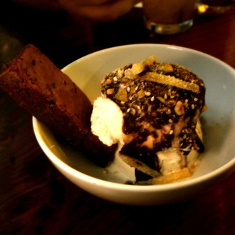 I also happen to love ginger. This Ginger Ice Cream and TRADE brownie is outstanding. I don't like brownies but this is airy and light and still chocolatey and rich. The chili chocolate sauce is just slightly spicy.