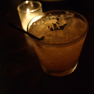 Rush Hour...what a waste of time. I say, stay in town, grab a seat at the bar and sip on this bourbon cocktail until traffic clears. Rush Hour at Trade is a cocktail made with Bulleit bourbon (you know I love Bourbon), lemon, honey, saffron and lavender.