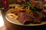 Sometimes your date just wante a really great peice of meat and some comfortingly, fried and salty potatoes. This steak-frites is just that. You almost want to invite someone who is not an adventurous eater to join you for dinner just so you can steal some of her fries and a bite of her steak.