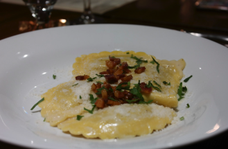 For fall, the pumpkin ravioli topped with crispy pancetta and finished with mascarpone is like wrapping oneself in a warm plaid wool blanket.