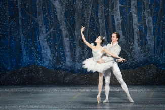 Seo Hye Han and Paul Craig as Snow Queen and King in Mikko Nissinen's The Nutcracker; photo by Liza Voll, courtesy of Boston Ballet