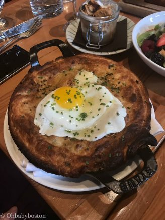 This is Lincoln Tavern's Breakfast pot pie. It was full of potatoes, topped with an egg and sausage and gravy inside.