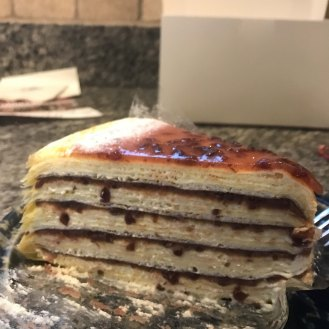 Lady M Cakes makes milles crêpes which are stacks of crêpes with thin layers of filling.