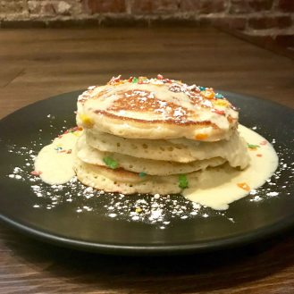 Lincoln Tavern has a Test Kitchen Brunch on Fridays but some of those treats end up on the regular brunch menu. This is the fruity pebbles pancakes with creme Anglaise. It is perfectly balanced (yes even with that rainbow-coloured cereal) and delicious. Have a little fun!