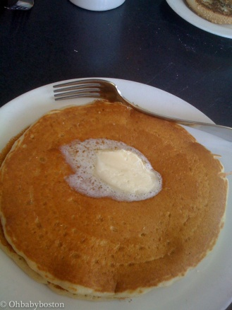 Pancakes at our beloved Deluxe Town DIner. They also have Ployes made with buckwheat. They have dairy free pancakes as well as these beautiful buttermilk pancakes. That's just to name a few of the pancakes available.