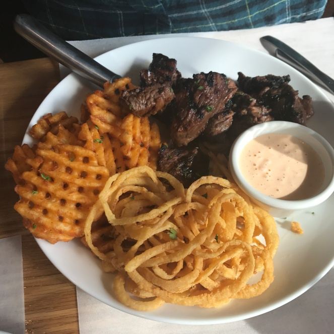 Steak tips and onion rings at The Brook in Maynard.